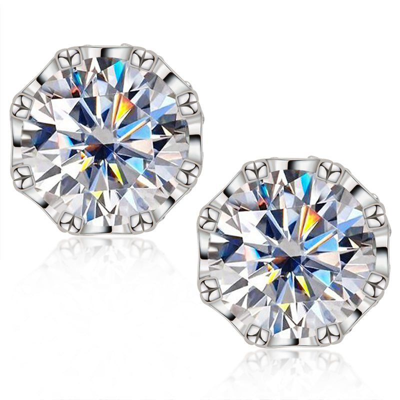 Round Cut Moissanite Diamond Classic Stud Earrings