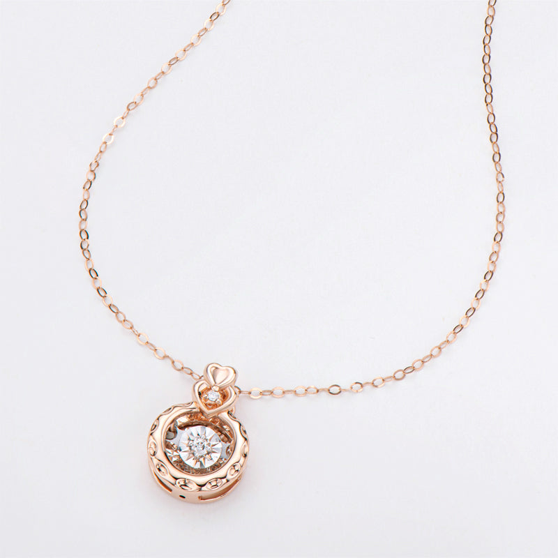 18K Rose Gold 0.025ct Natural Diamond Fashion Dancing Pendant Necklace