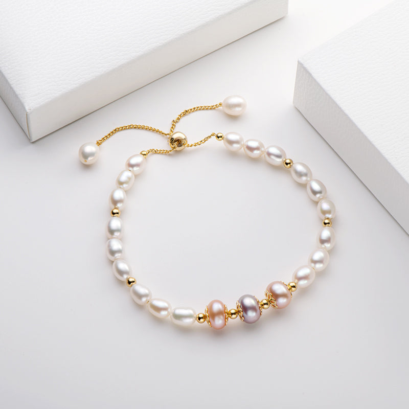 Natural Cultured Freshwater Pearl Adjustable Bracelet