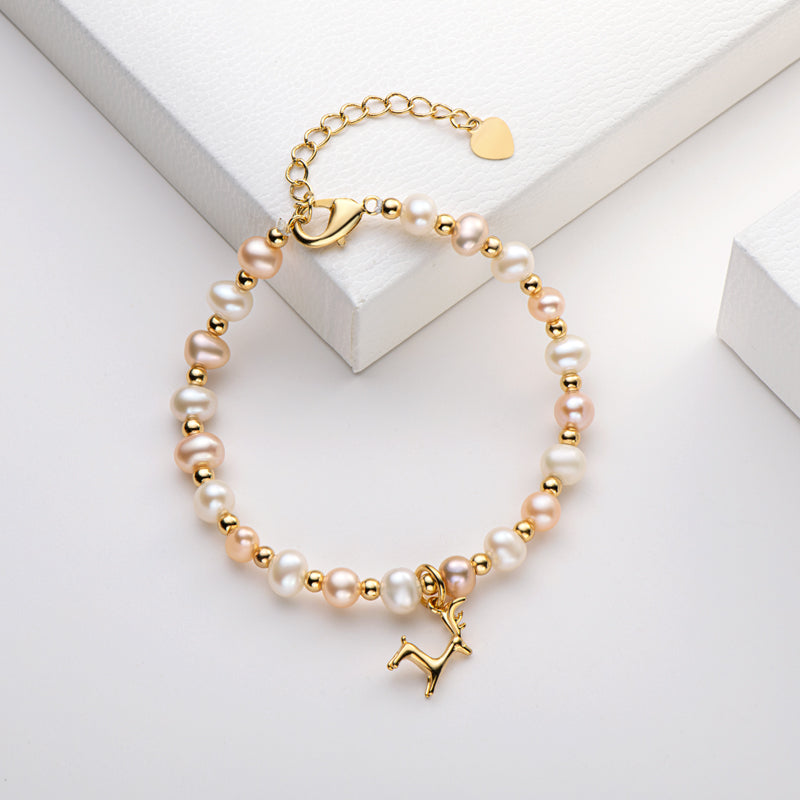 Lovely  Deer Natural Cultured Freshwater Pearl Bracelet