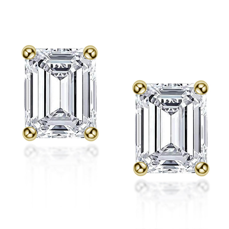 Emerald Cut Created White Diamond Stud Earrings