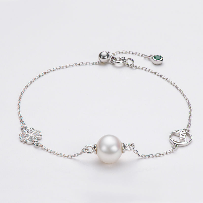 Lucky Four Leaf Clover Natural Cultured Freshwater Pearl Bracelet