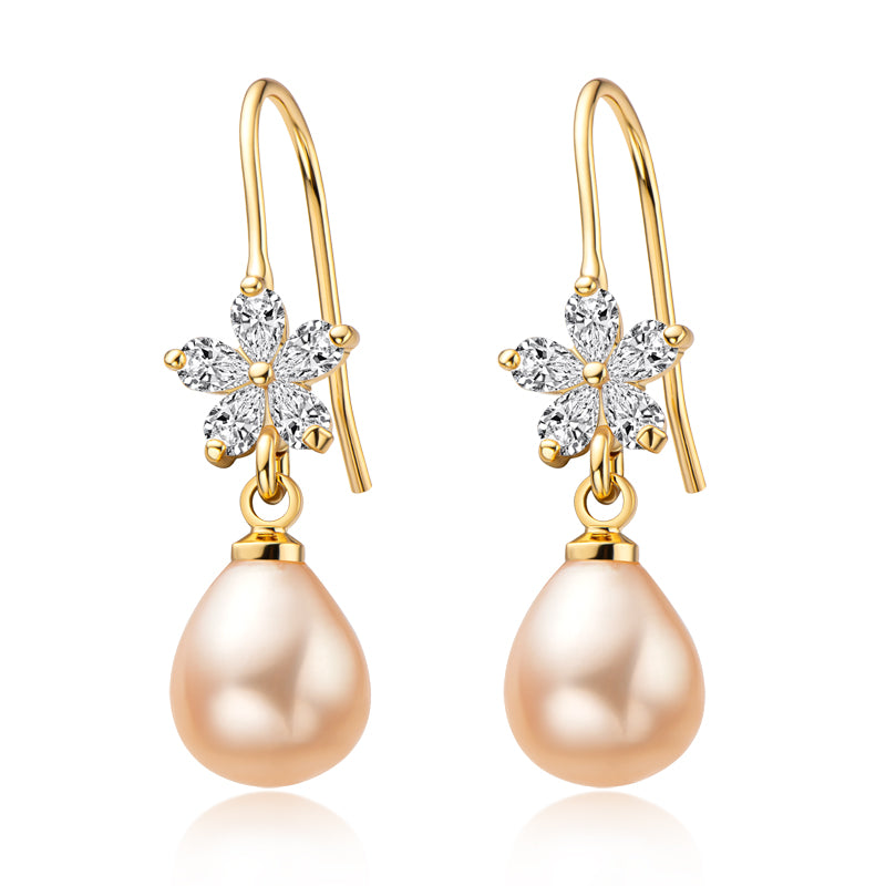 14K Gold Filled Flower Natural Freshwater Pearl Hook Earrings