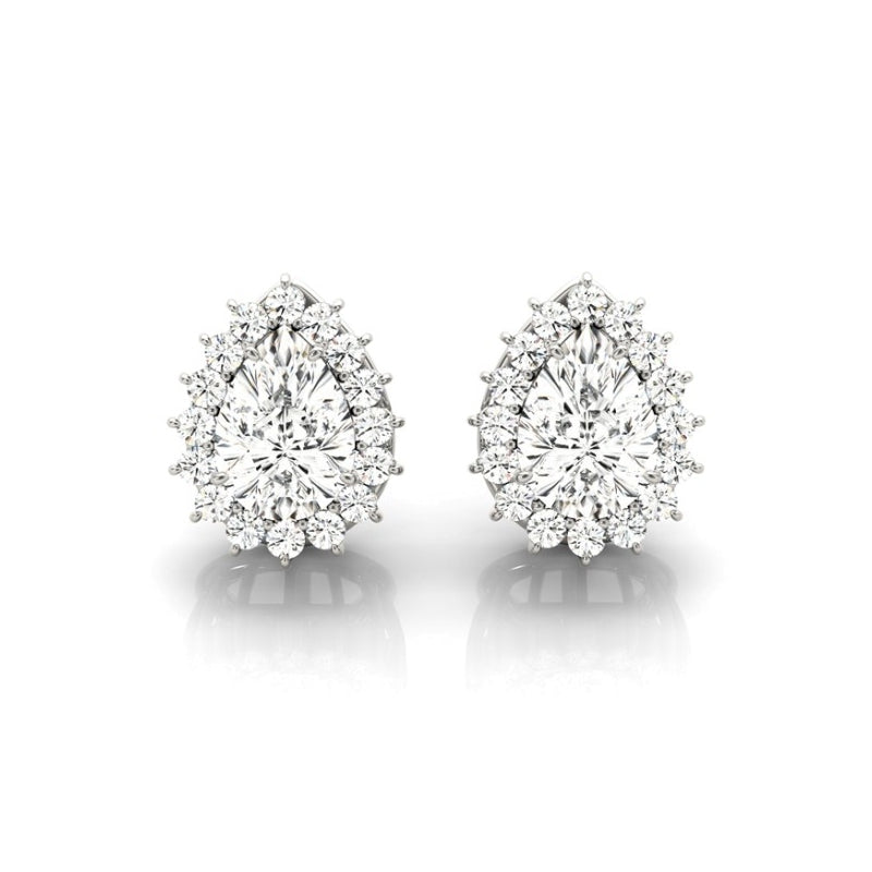 Floral Design Pear Created White Diamond Stud Earrings