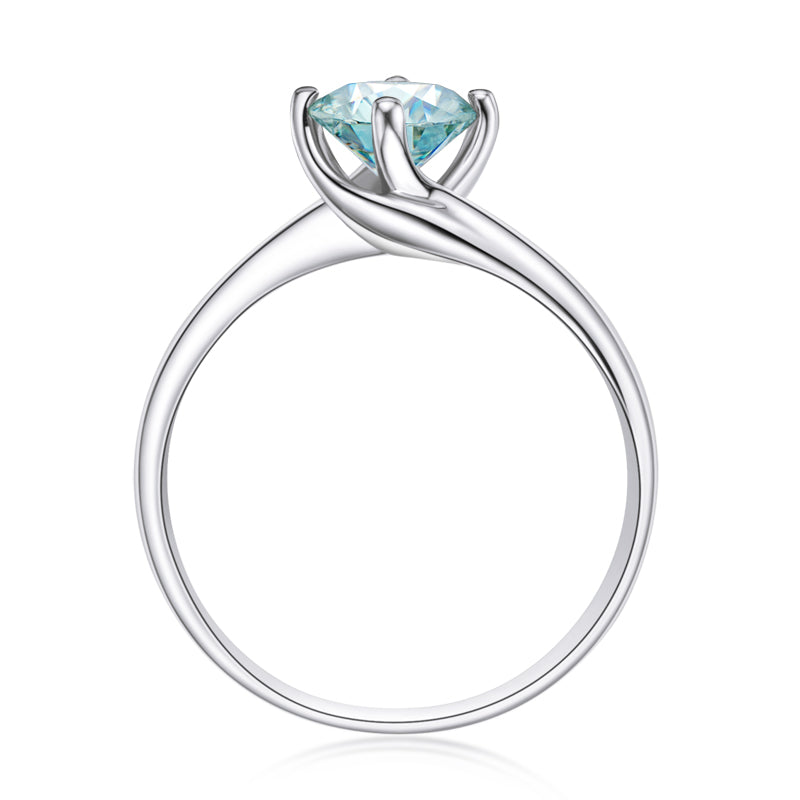 Round Cut Lightly Blue Moissanite Diamond Ring