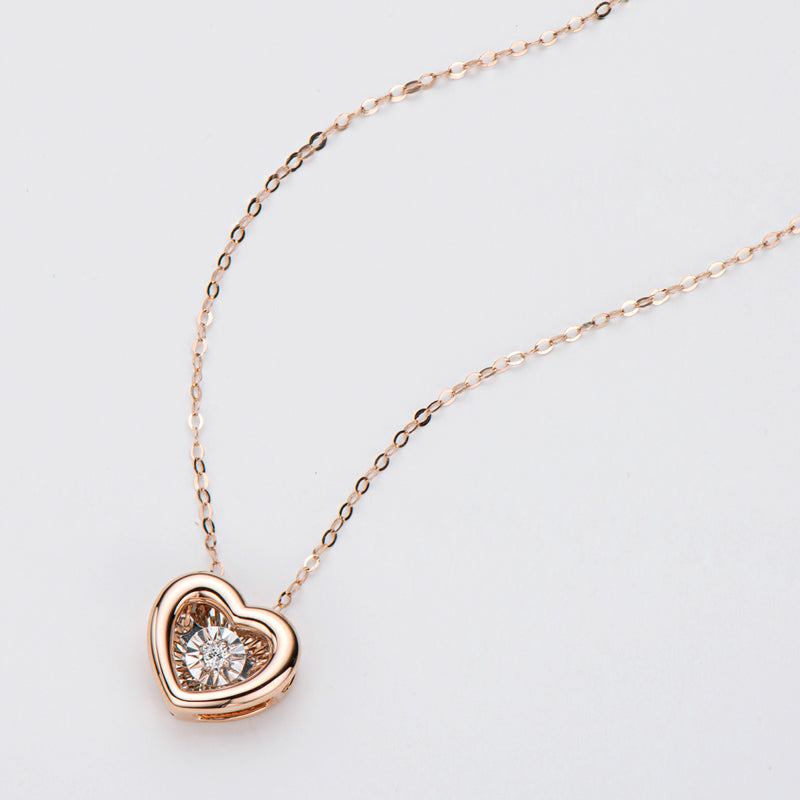 18K Rose Gold 0.02ct Natural Diamond Dancing Heart Shaped Pendant Necklace