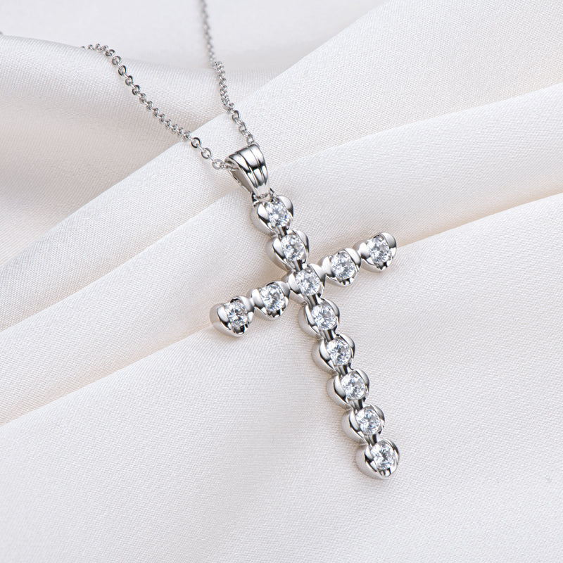 Round Cut Created White Diamond Cross Pendant Necklace