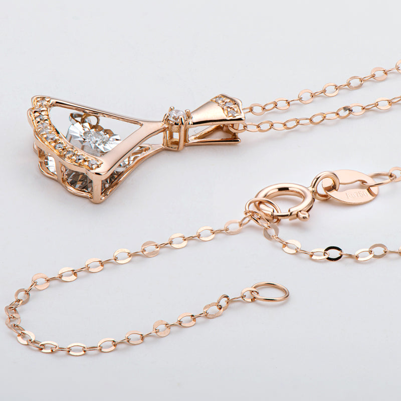 18K Rose Gold 0.09ct Natural Diamond Fashion Dancing Pendant Necklace