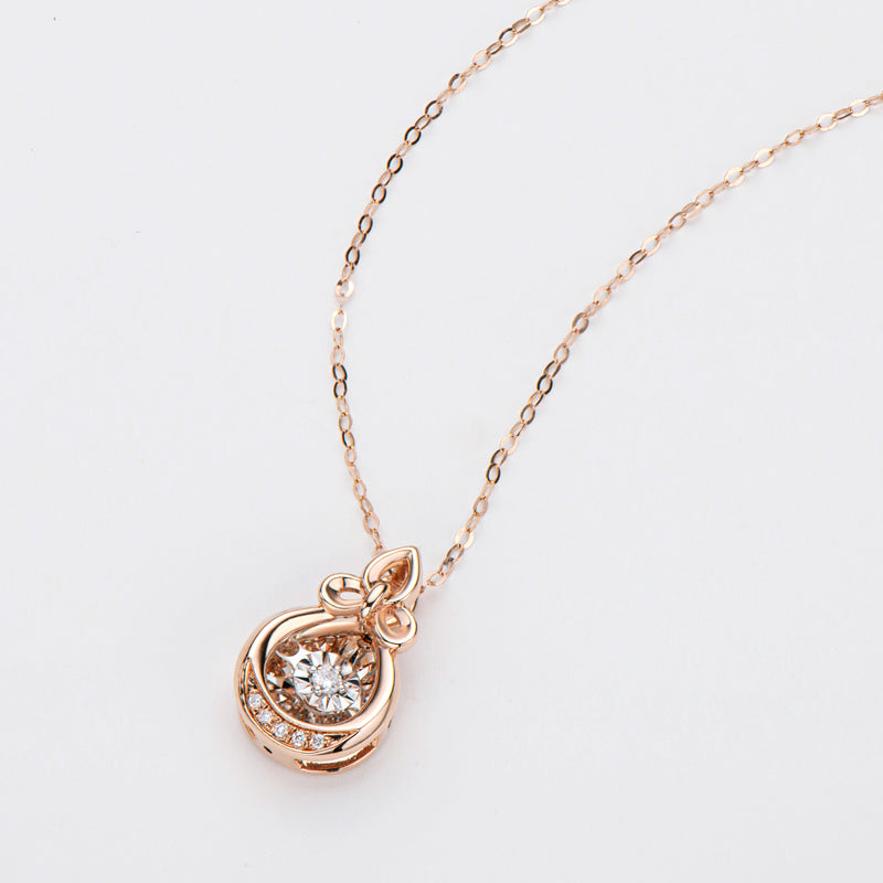 18K Rose Gold 0.04ct Natural Real Diamond Tulip Flower Shaped Dancing Pendant Necklace