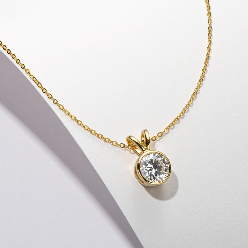 Round Cut Created White Diamond Pendant Necklace