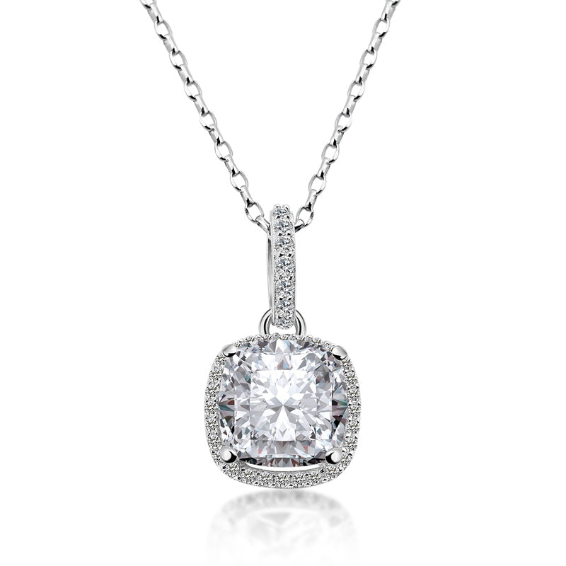 925 Sterling Silver Cushion Cut Created White Diamond Pendant Necklace