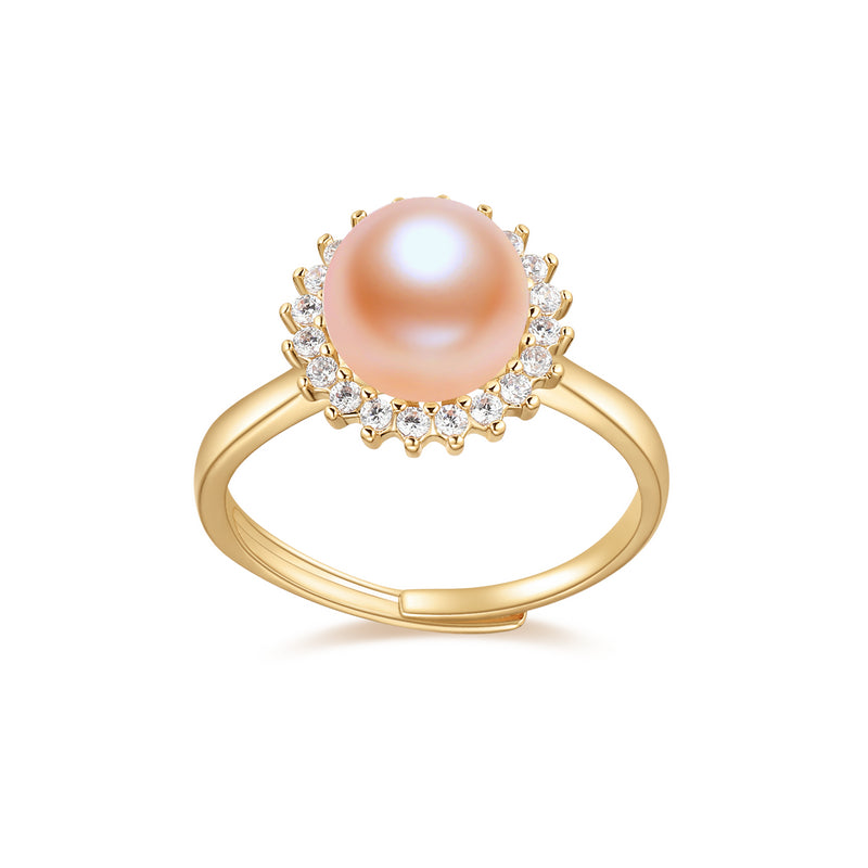 Flower Natural Diamond Freshwater Pearl Ring