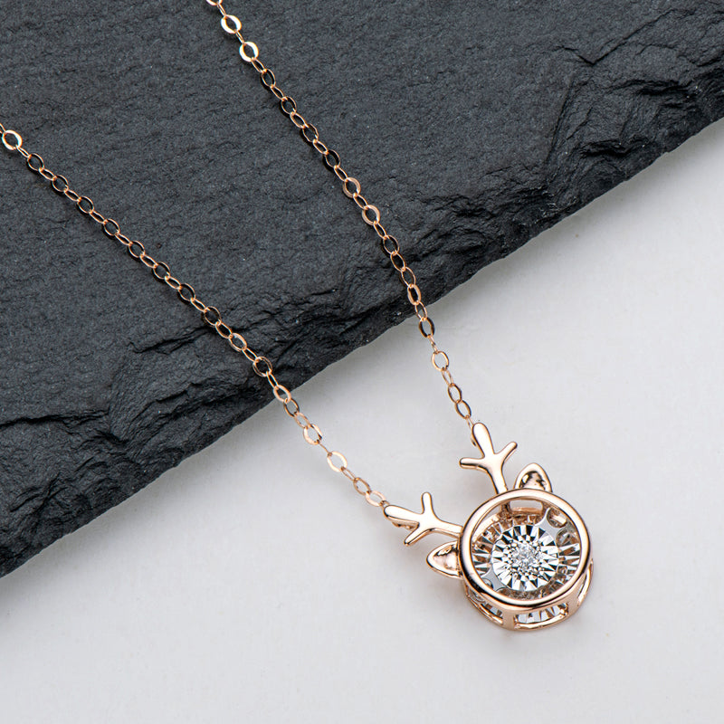 18K Rose Gold 0.02ct Real Natural Diamond Fawn Dancing Pendant Necklace