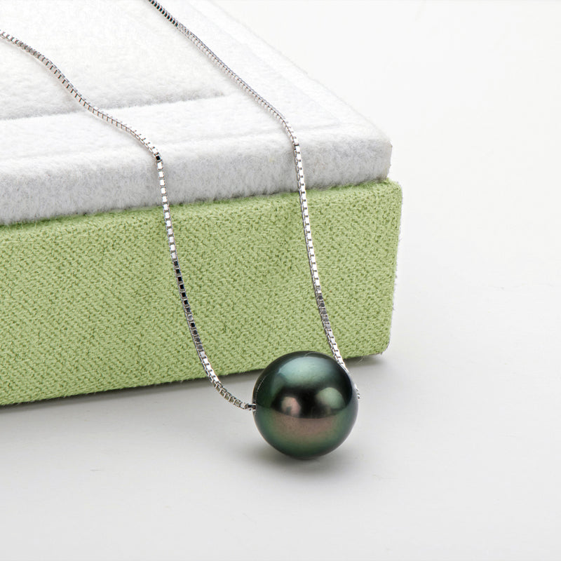 925 Sterling Silver Tahitian Black Pearl Fashion Pendant Necklace
