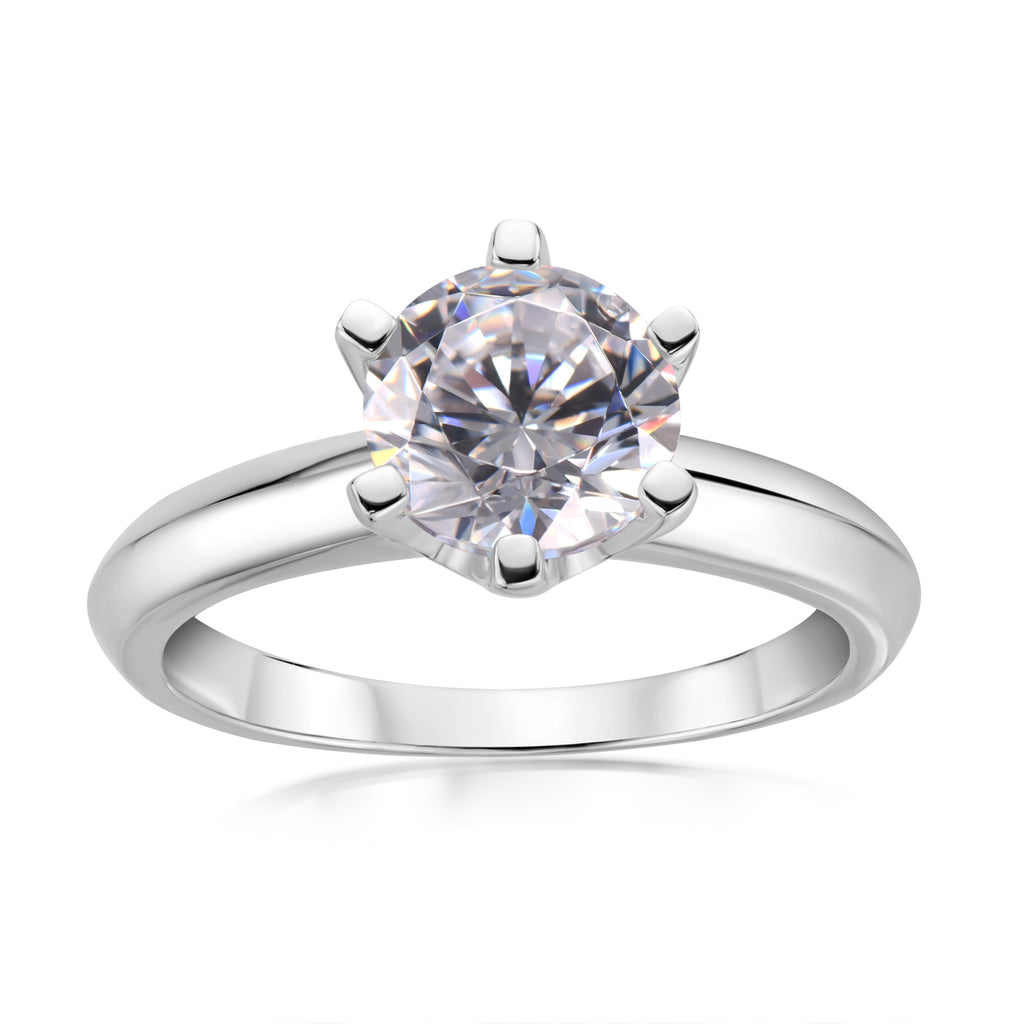 1.5CT Classic Six Prong Created White Diamond Solitaire Ring