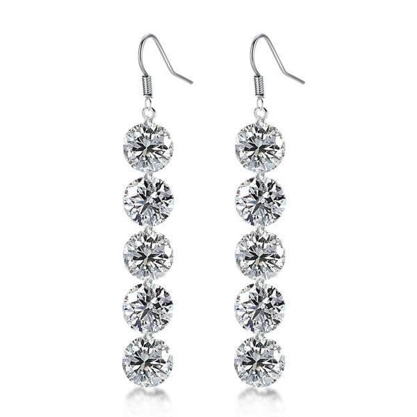 Round Created White Diamond Drop Earrings
