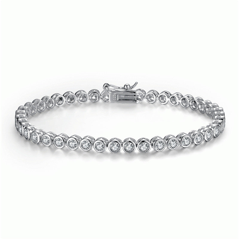 Bezel Round Created White Diamond Tennis Bracelet