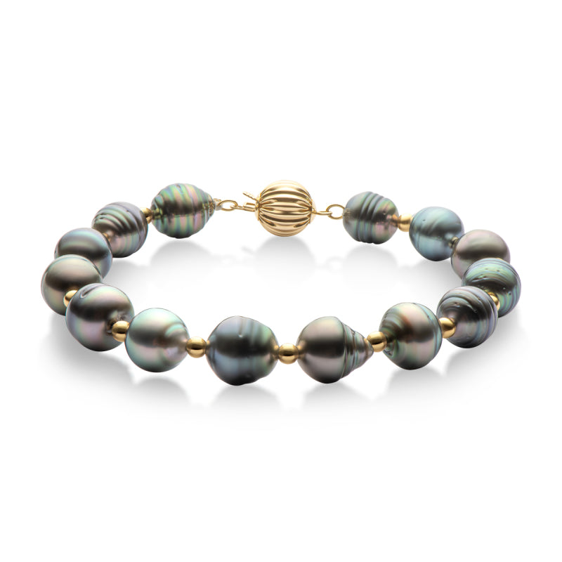 18K Gold Cultured Southsea Tahitian Black Baroque Pearl Bracelet