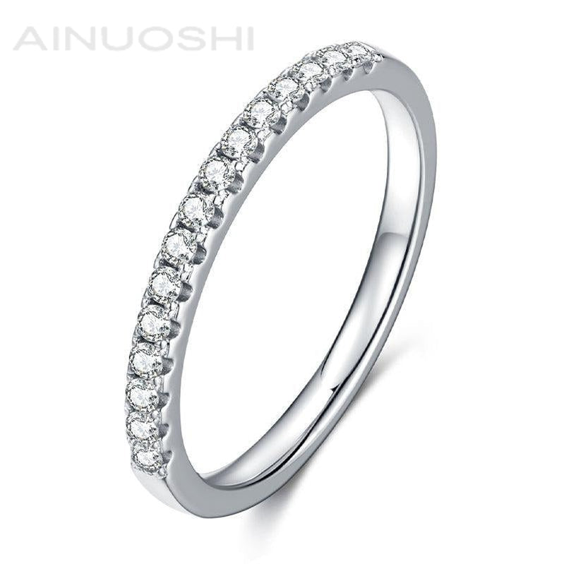 Round Cut 1.5mm Moissanite Diamond Half Eternity Ring