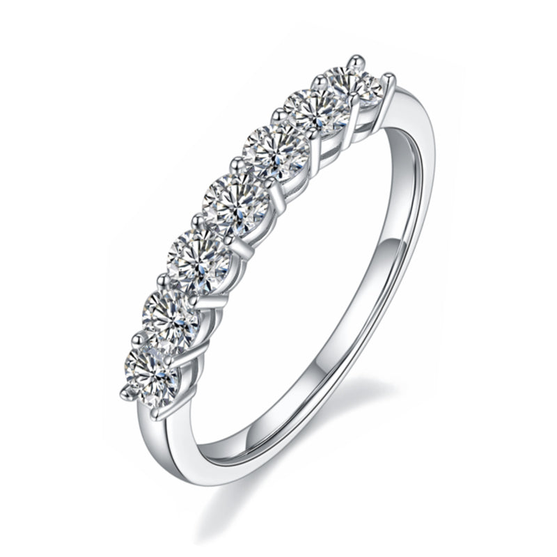 Round Cut 3mm Moissanite Diamond Half Eternity Ring