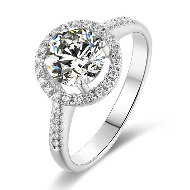 Classic Round Cut Moissanite Diamond Halo Ring