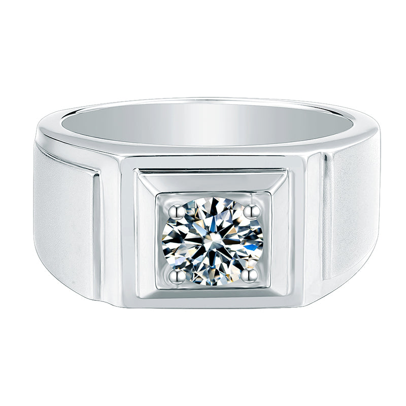 Classic Round Cut Moissanite Diamond Solitaire Men's Ring