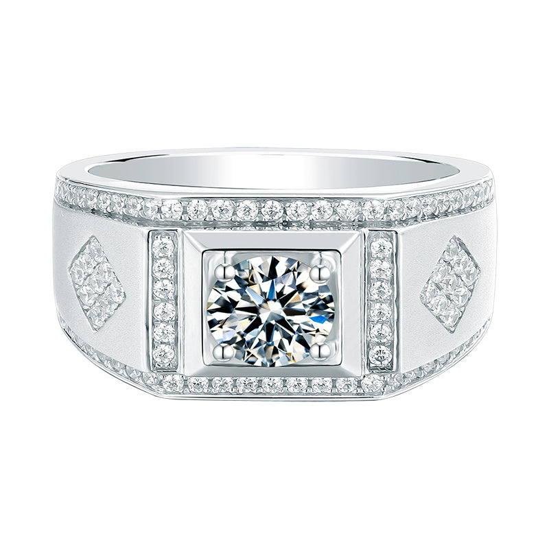 Round Cut Moissanite Diamond Classic Men's Ring