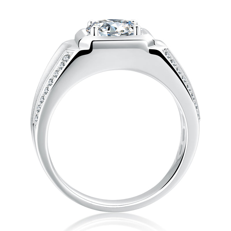 Classic Round Cut Moissanite Diamond Men's Ring
