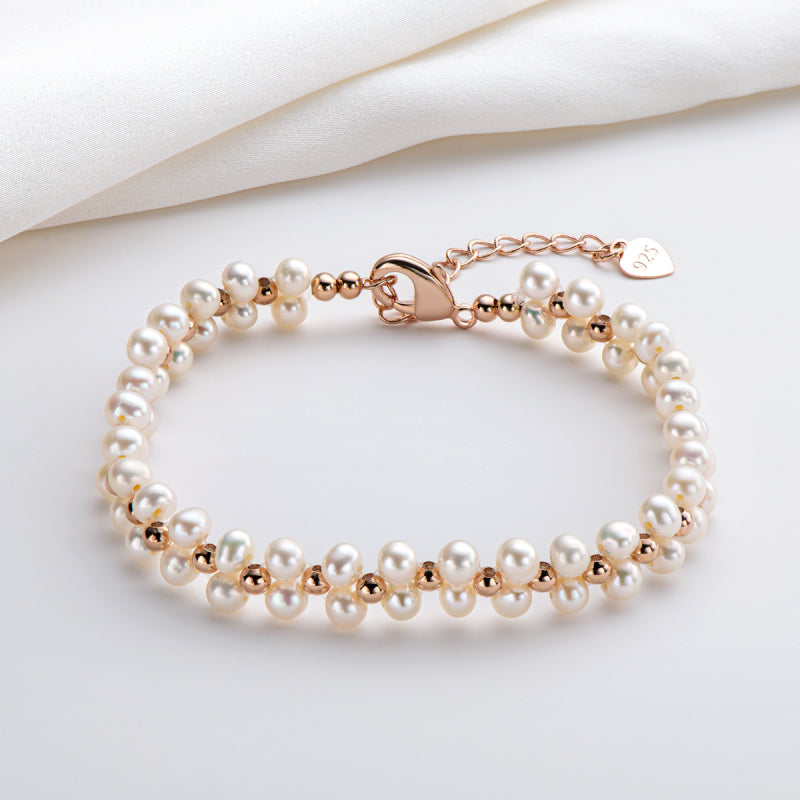 Natural Cultured White Freshwater Pearl Beads Bracelet