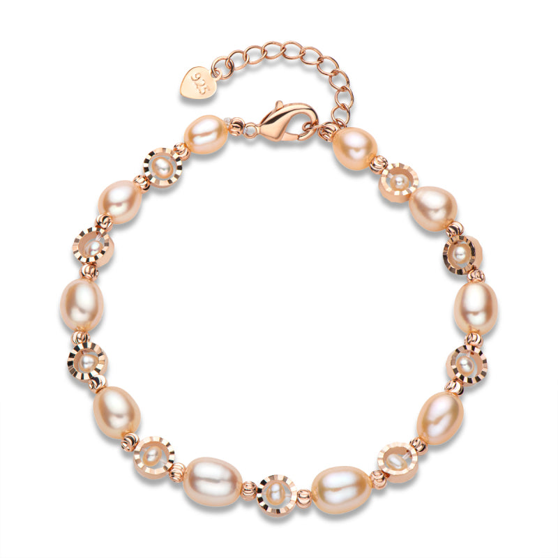 Pink Cultured Freshwater Pearl Bracelet Adjustable