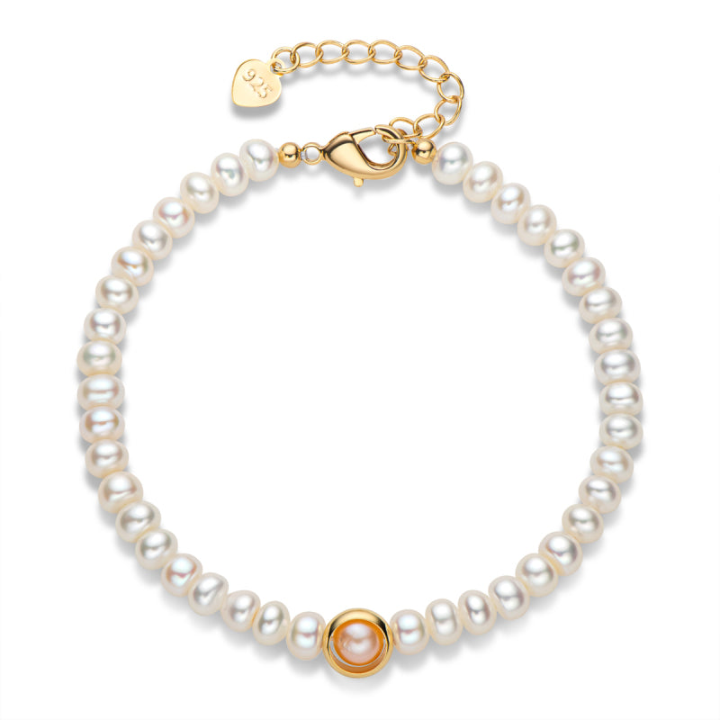 Natural Cultured White Freshwater Pearl Bracelet