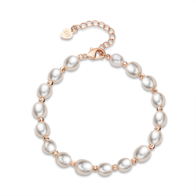 Adjustable Infinity Freshwater Cultured White Pearl Bracelet