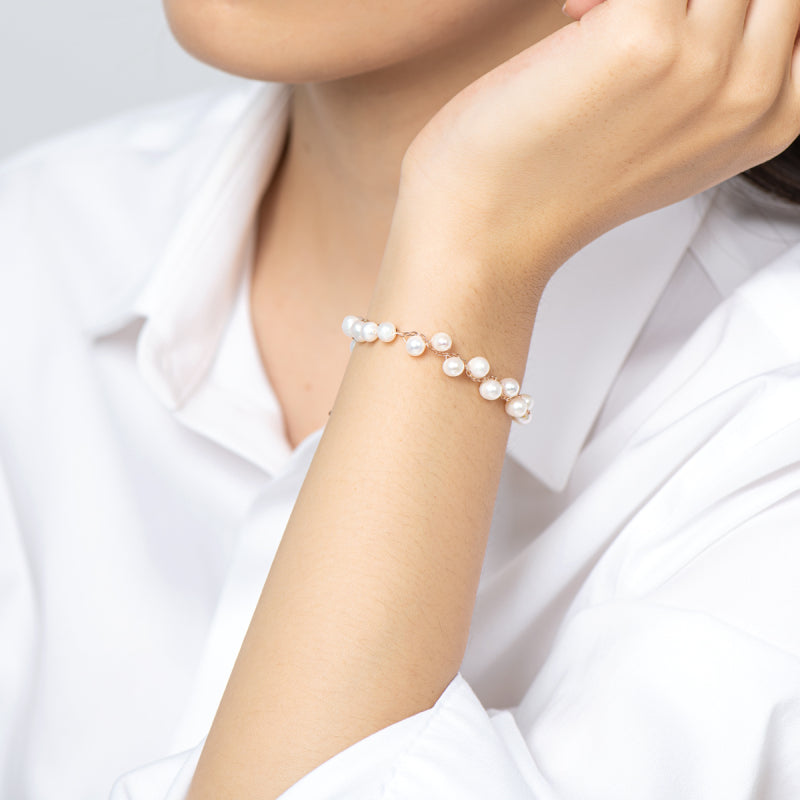 Adjustable Cultured Freshwater White Pearl Bracelet