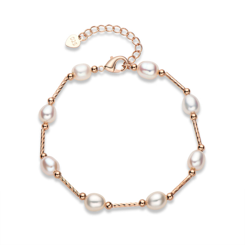 White Cultured Freshwater Pearl Bracelet Adjustable