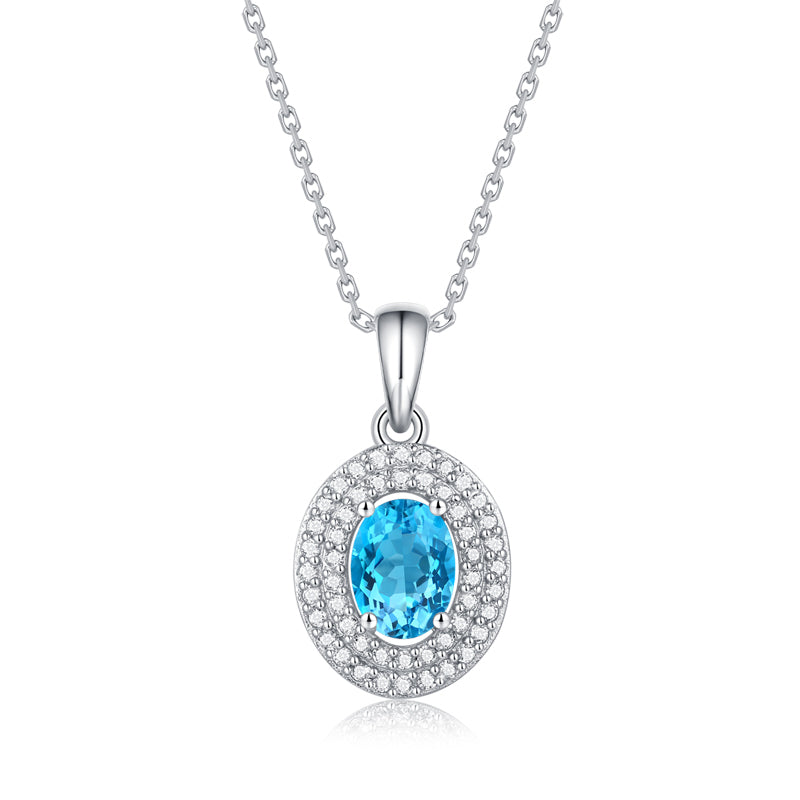Oval Cut Natural Blue Topaz Double Halo Pendant Necklace