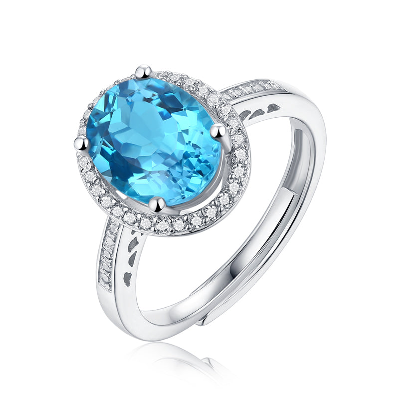 Halo Oval Cut Natural Blue Topaz Ring Adjustable Size