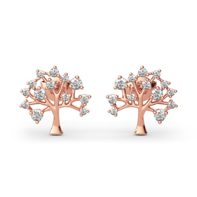 """Tree of Life"" Round Cut Sterling Silver Earrings"