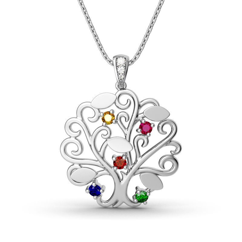 """Tree of Life"" 925 Silver Birthstone Necklace"