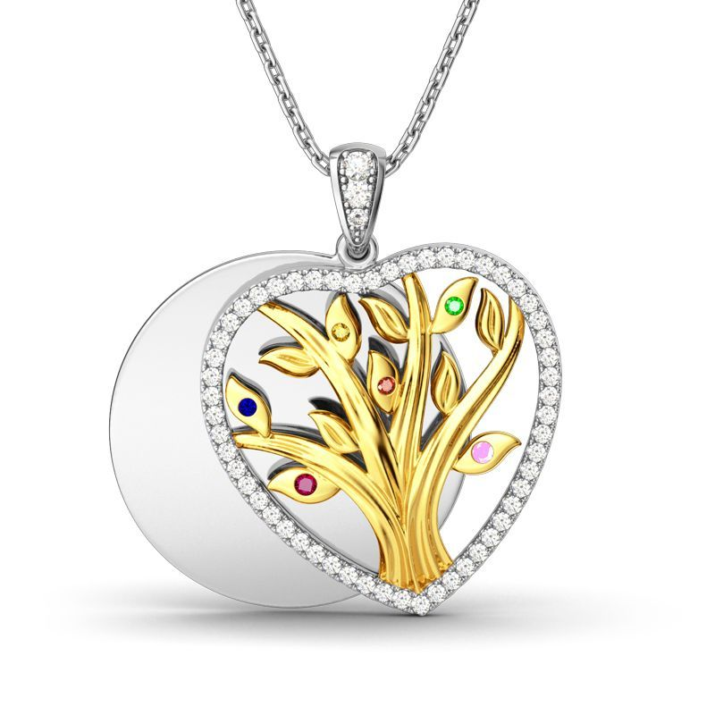 """Tree of Life"" 925 Silver Layered Heart-shaped Birthstone Necklace"