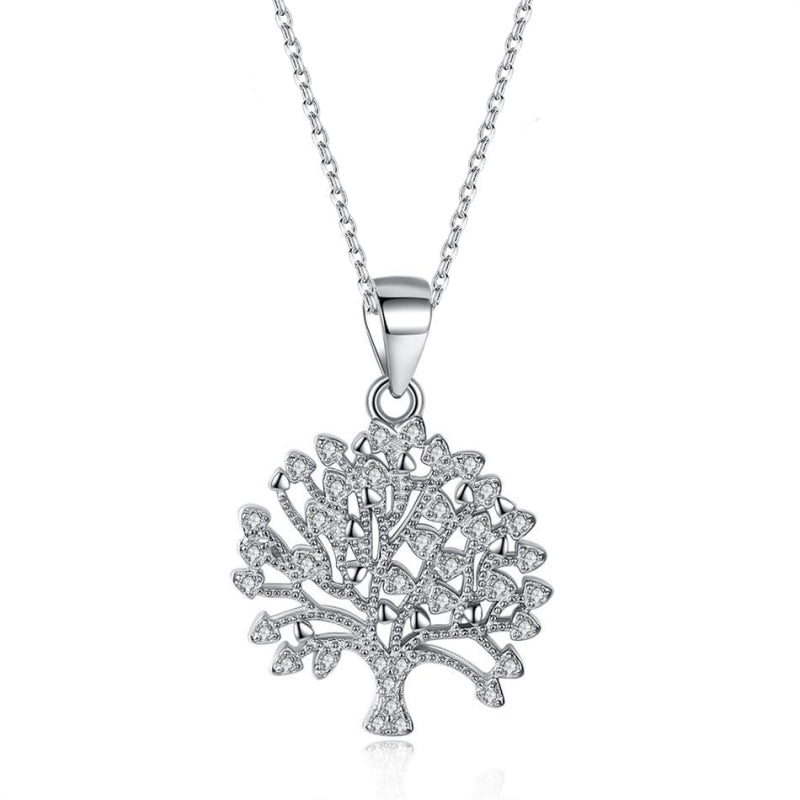 """Tree of Life"" 925 Sterling Silver Inlaid Pendant Necklace"