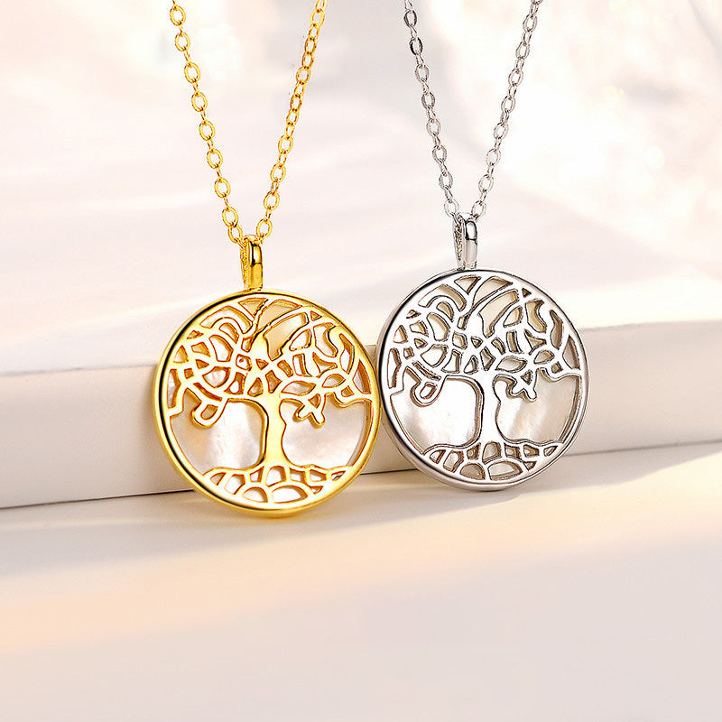 """Tree of Life"" 925 Sterling Silver Natural White Fritillary Necklace"
