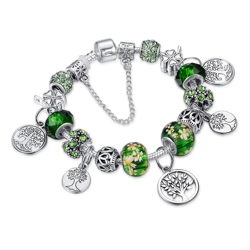 """Tree of Life"" Green Faceted Crystal Beaded Bracelet"