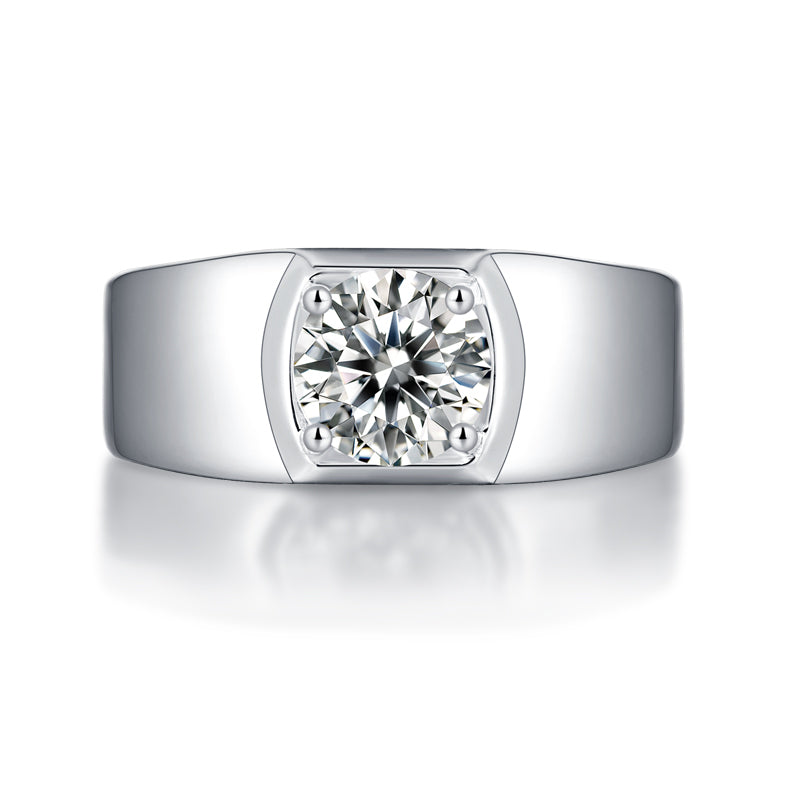 Solitaire Round Brilliant Cut Moissanite Diamond Men's Ring Adjustable Size