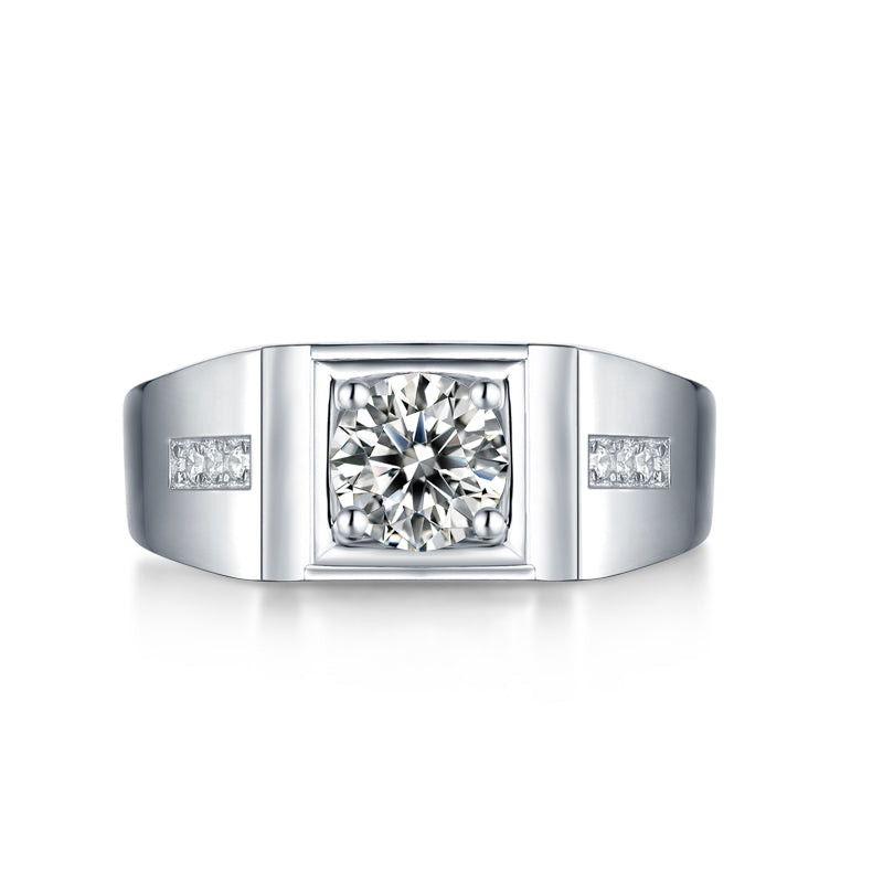Round Cut Moissanite Diamond Solitaire Men's Ring with Adjustable Size