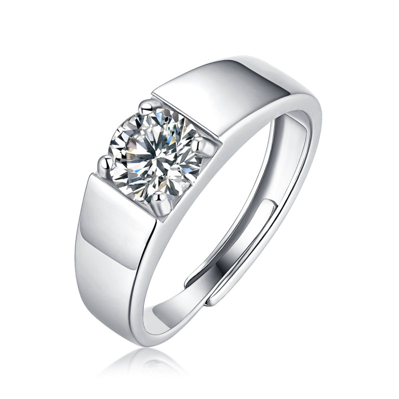 Solitaire Round Cut Moissanite Diamond Men's Ring Adjustable Size