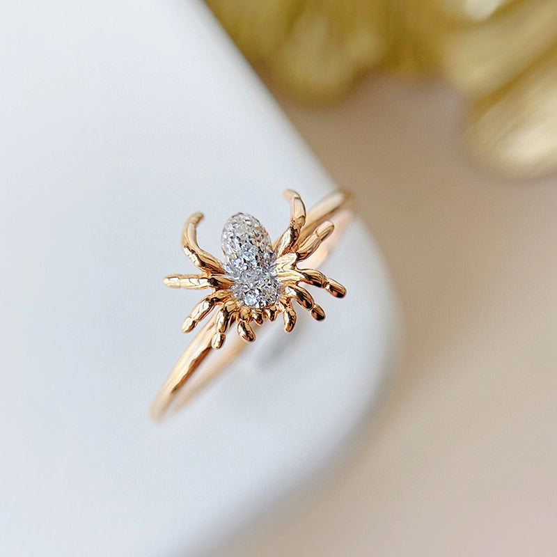 18K Gold Spider Diamond Ring Exclusively Handcrafted 0.08 Carat Natural Diamond (H-F Color, VS1-VS2 Clarity)