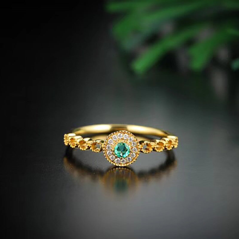 18K Gold Emerald Ring Exclusively Handcrafted 0.045 Carat Natural Diamond (H-F Color, VS1-VS2 Clarity)