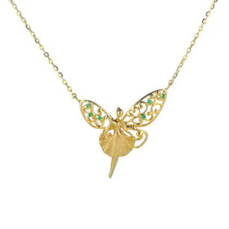 18K Gold Natural Gemstone Fairy with Angel Wings Necklace Pendant