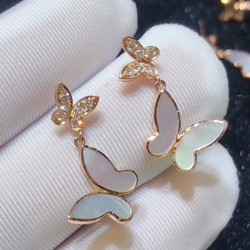 18K Gold Diamonds White Mother of Pearl Butterfly Earrings Exclusively Handcrafted 0.13 Carat Natural Diamond (H-F Color, VS1-VS2 Clarity)