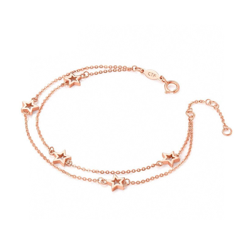 18K Gold Chain Length 17CM Star Simplicity adjustable Bracelet